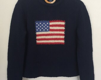 Vintage Wool American Flag Sweater