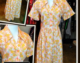 Vintage Pink Peach Print Cotton Full Skirt Day Dress FREE SHIPPING