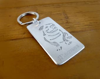 Bulldog Personalised Keyring, Bulldog Keyring, Bulldog Keychain, Bulldog Fob, Personalised Dog Keyring, Pet Loss Keyring, Pet Memorial Gift