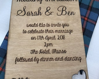 Wooden Cut out heart Wedding Invitation