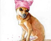 Chihuahua in a Pussy Hat - Matted Archival Print