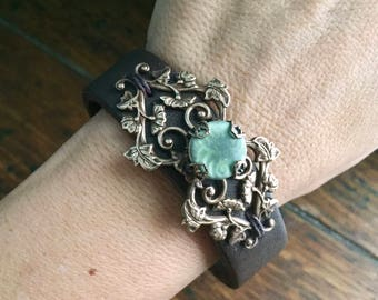 Women's Brown Leather Cuff with Antiqued Vintage-Look Brass Scrollwork and Seagreen Ceramic Cabochon
