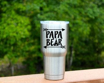 Papa Bear Decal, Mama Bear Decal, Papa Bear Sticker, Mama Sticker, Vinyl Decal, 30oz Tumbler Decal, Dad Gift, Granddad Gift