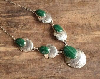 Malachite Necklace - Navajo Necklace - Native American Jewelry - Signed Native Necklace - Sterling Silver Native Necklace - 20 Inch Necklace