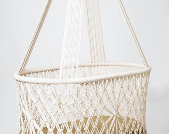 "PREORDER Hanging Swinging Baby Cradle in Macrame, Oval Shape with handwoven wicker base. 100% cotton ropes. L36""x W21"" Fair Trade"