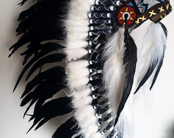 Y21 Native American inspired Medium  natural color  Feather Headdress (36  inch long )/war bonnet