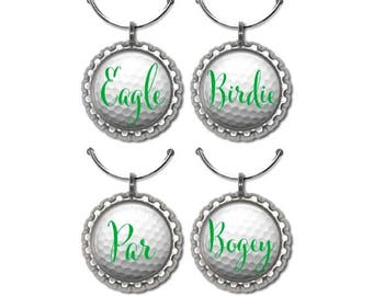 Golf party favors golfball wine charms drink tags golfer gift under 20 golf team .