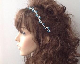 Bridal Headband, Wedding headband, crystal Wedding Headband, hair jewelry, ivory head piece, brides accessories, gift for her