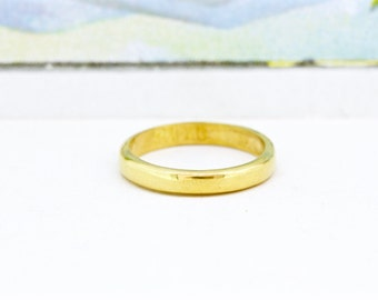 Handmade Wedding Band | 24k Yellow Gold Ring | Unique Wedding Ring | Solid Gold Wedding Band | Yellow Gold Stacking Ring | Size 5.5