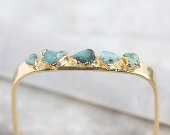 emerald cuff / raw emerald bracelet / natural emerald bangle / rough emerald / emerald jewelry / may birthstone / raw stone bracelet