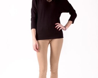 Long Sleeve Black Dolman Top with Cashmere Sweater Feel, Lightweight and Eco-Friendly