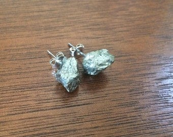 Pyrite Earrings Studs Raw Rough Fools Gold Gemstone Crystal Jewelry Boho Druzy Geode Mineral Minimalist Nickel Free Gift