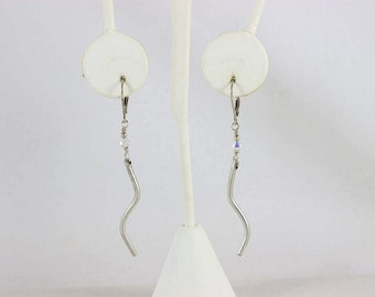 Sterling Silver Crystal Dangle Drop Earrings
