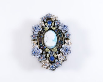 Vintage Brass Floral Pill Box - Blue Cameo Magnetic Pill Box with Rhinestones