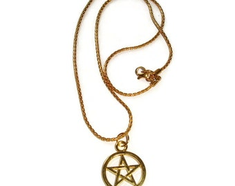 Pentacle Necklace Pentagram Necklace Pentacle on chain, 18in pentagram Large Pentacle Pentagram Pendant Wicca Gift for Him Gift for her