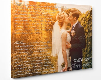 First Dance Canvas Print Photo with Lyrics/Wedding Song/Vows on it. Gallery Wrapped. Wall Decor. Wedding/Anniversary Gift.