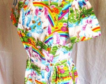 Unicorn Rainbow Handmade Vintage 1950s Style Dress
