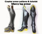 Printable Overwatch Mercy cosplay armor pattern with tutorial - boot shoes greaves foam - digital costume boots Hanzo Widowmaker Pharah
