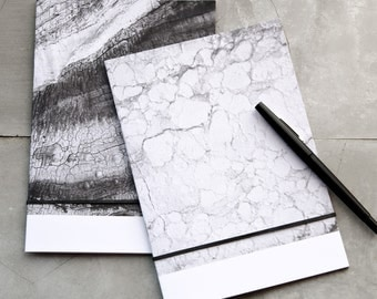 Two A5 Notebooks, Marble and Lines of Wood Journal, black and white minimal, modern nature A5 recycled paper pocket notebook gift set