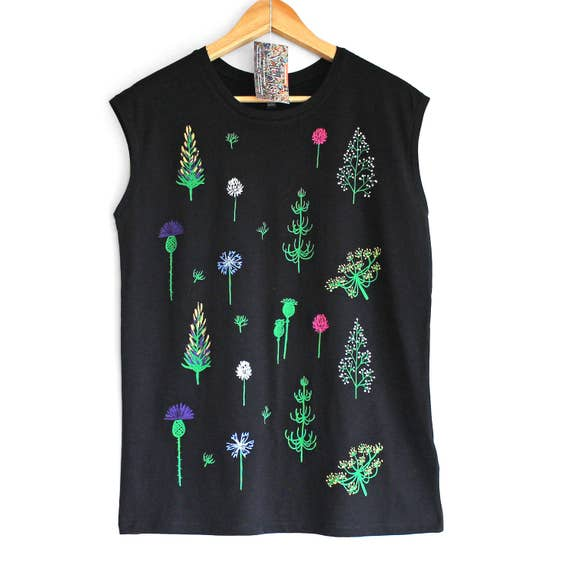 SUMMER SOLSTICE. Ladies sleeveless top with floral print. Black floral t-shirt. Women's organic cotton and tencel sleeveless t-shirt.