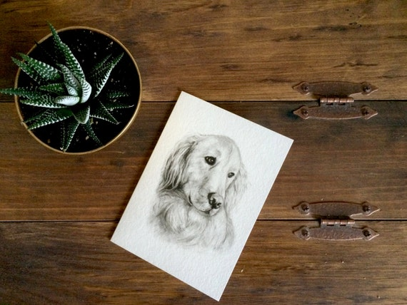 """Golden Retriever Charcoal Drawing PRINT on 5""""x7"""" Card - Birthday Card - Pet Portrait - Pet Loss - Black and White - Gift for Her - Dog Lover"""