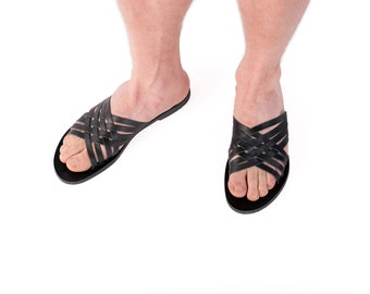 Black sandals for men, huaraches slides made in Greece.