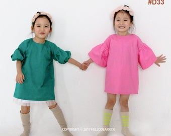 Kid's sewing pattern pdf/Toddler Kids/ Little Girl dress / Dress with big puff sleeves / sizes 12M to 7Years
