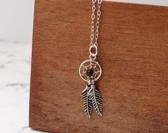 Boho dreamcatcher necklace, inspiration, bohemian dream catcher, sterling silver jewelry, black onyx stone