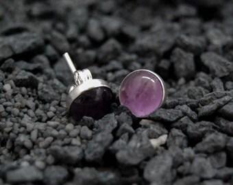 Handmade purple Amethyst stud earrings, oxidized sterling silver, 8mm Amethyst cabochon, purple studs, ear studs, post earrings