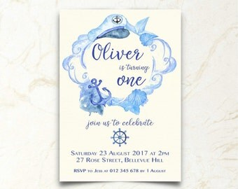 1st Birthday Invitation | Boy | Nautical | Sailor | Printable Download