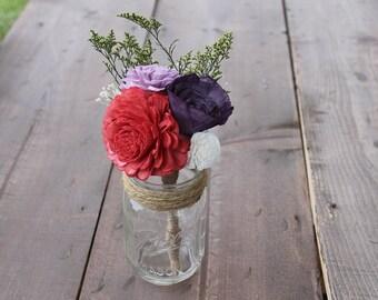 Coral, Plum, & Lavender Peti Sola Wood Bouquet, Coral Flower Bouquet, Plum Sola Wood Bouquet, Coral Centerpieces, Wedding Centerpiece