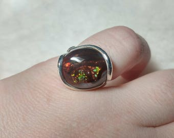 Dragons Eye Ring | Mexican Fire Agate Ring | Sterling Silver Ring Sz 7.5 | Fire Agate Jewelry | Rare Gemstone Ring | Gift for a Dragon