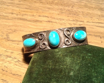 Vintage Native American Silver & Turquoise Cuff Bracelet