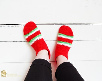 Elfs Socks. Slipper Socks. Christmas Socks. Christmas socks red white green knit socks elf striped socks gift for her stocking stuffer.