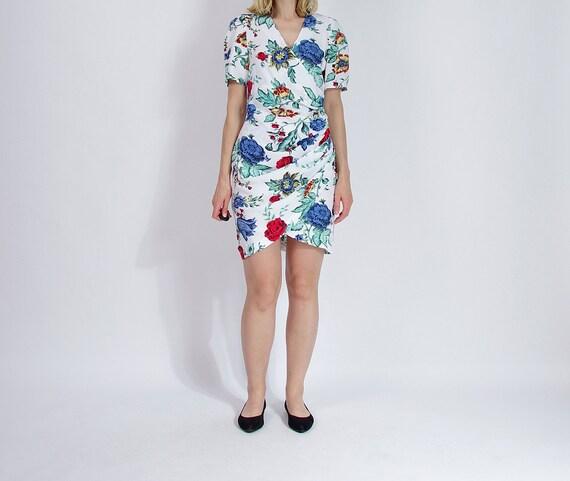 SALE - 80s Hennes Mauritz Floral Street Style Cocktail Dress / Size M/L