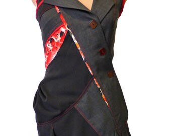 Tunique Redingotte tailleur originale et féminine rouge et grise a motifs plumes T40/42