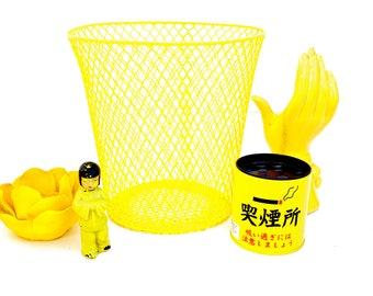 Vintage Yellow Metal Mesh Wastebasket   Color Pop Industrial Wire Trash Can   Planter    Bedroom Bathroom Office Decor