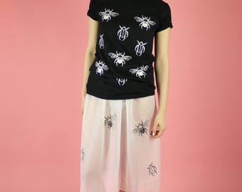 Bee and Beetle Insect Print T-shirt - White on black