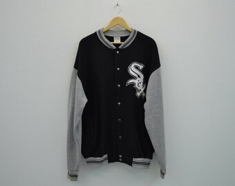 White Sox Jacket Vintage White Sox Bomber Jacket Chicago White Sox Sweat by Majestic Made in USA Mens Size XL