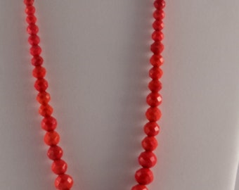 Vintage Red Glass Faceted Bead Necklace/Antique Red Beads/Red Glass Faceted Beads Varies Sizes/Graduated in Size Red Glass Beads