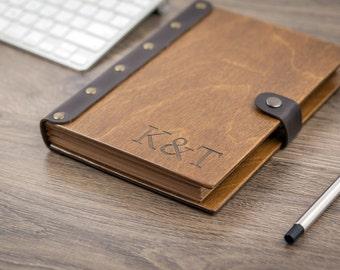 Wooden Notebook, Leather Sketchbook, Notebook, Travel Journal, Leather Journal, Personalized Journal, Pocket Notebook, Blank Notebook