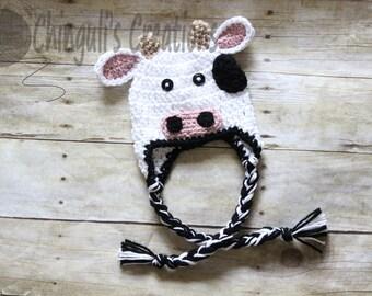 Baby Cow Crochet Hat Newborn Cow Hat Kids Cow Hat Halloween Costume Baby Photo Props