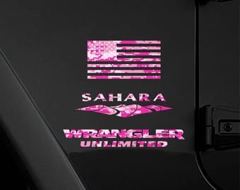 "Set of 2 - Full Fender Replacement Set of Jeep Wrangler American Pink Magenta Camo Flag Decals - 6"" x 3.16"""
