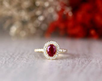 9x5MM Natural Oval Ruby and Diamond Halo Engagement Ring | Cathedral Setting | 1.8MM Band | Solid 14K Gold | Fine Jewelry | Free Shipping