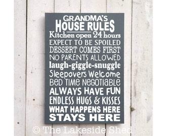 Grandma's House Rules   Grandma Sign   Grandma Plaque   Grandma Gift   Nannie gift   Grandparents House Rules   Grandmother Gift   Granny