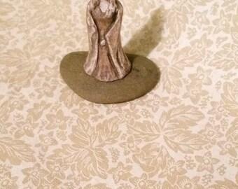 Micro Miniature Goddess Persephone Figure Original Art Sculpture Ancient Style Pagan Altar Piece, Persephone Returns Figurine