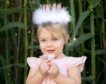PInk Champagne + Rhinestone Bling Letter Lace Crown with White Feathers - Mini Crown Headband - Photography Prop - Customize - Tiara - Hat