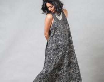 Black Maxi Dress / Grey Long Dress / Printed Sleeveless Dress / Oversize Evening Dress / Elegant Boho Dress / Casual Urban Dress - Jessa