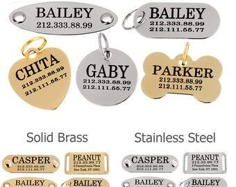 Custom Dog Tag Personalized ID Engraving Nameplate 24K Gold Plated Brass Steel Pet Tag
