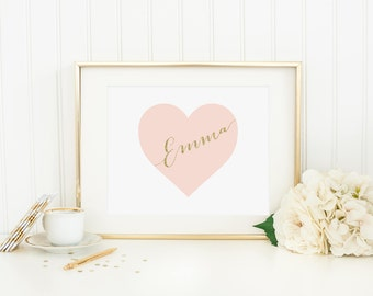CUSTOM NAME Heart Printable Pink Nursery Decor Nursery Letters Nursery Monogram Heart Wall Art Heart Decor Nursery Heart Print Gold Glitter